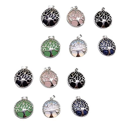 VORCOOL 12 Piezas de Colgantes de Árbol de La Vida Encantos de Cristal Natural Colgantes de Piedra de Redonda Cristales Curativos Dijes de Piedras Preciosas de Chakra para Hacer