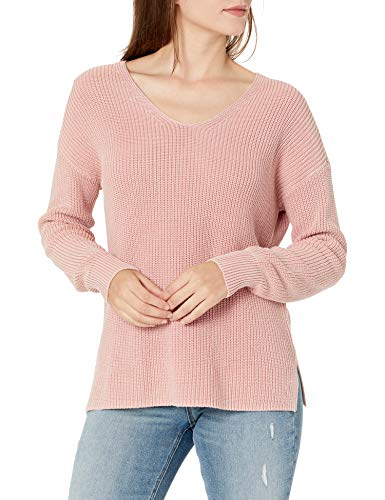 Amazon Brand - Goodthreads Women's Relaxed Fit Mineral Wash Ribbed Boyfriend V-Neck Sweater, Vintage Pink, Medium