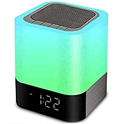 Bluetooth Speaker Night Lights, 5 in 1 Bedside Lamp with Bluetooth Speaker, 12/24H Digital Calendar Alarm Clock, Touch Control & 4000mAh Battery, Support TF and SD Card, Music Player, Room Decor.