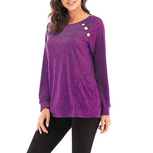 Bluse Damen Pullover Damen Langarm Einfarbige Rundhals-Knopf-Mode Elegantes All-Match-Casual-Loose-Top New Herbst Freizeit Wärme Mode Damen Sweatshirt B-Purple S