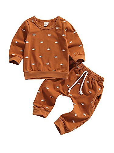 Newborn Baby Boys Clothes Infant Long Sleeve Sweatshirt Tops Pants Set Fall Winter Outfits (Brown Sunrise, 3-6 Months)