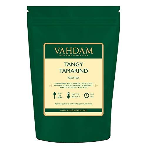 VAHDAM, Thé Glacé au Tamarin et Acidulé | 40 portions | Ingrédients 100% naturels | Délicieuse saveur de tamarin et de fruits exotiques tropicaux | Thé glacé aux herbes | Feuille lâche | 200gr
