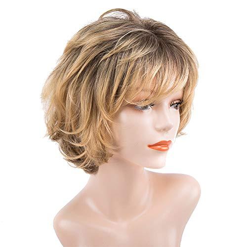 Peluca corta moderna de pelo humano con cabello ondulado de color rubio dorado para mujer, cabello humano real resistente al calor