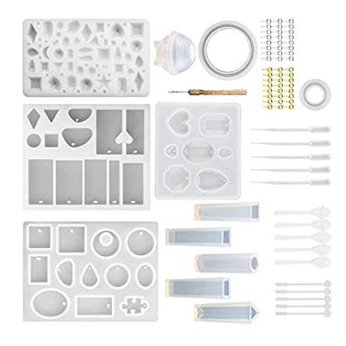 HLJS Juego de moldes de resina de silicona para bisutería, resina epoxi, moldes de silicona para la fabricación de joyas, colgantes, collares, pendientes (B)