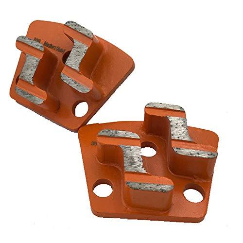 CT06 Zwei Z-förmige Segmente M9 Trapez-Diamantschleifschaber Magnetische ASL-Diamantschleifplatte für CPS-Bodenschleifer 12PCS, weiches Bond-Gelb, 3 x M6-Gewindebohrungen