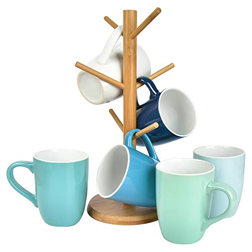 Set of 6 Coffee Mug Set with Stand, 16 Ounce Ceramic Coffee Mugs with Holder, Restaurant Coffee...