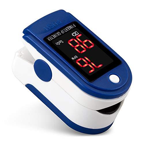 Pulsossimetro da dito, schermo a LED portatile, monitor di saturazione Ossimetro da sonno Misuratore di frequenza cardiaca con chiodo da dito Uso per atleti, bambini, anziani, uso domestico.,Blu
