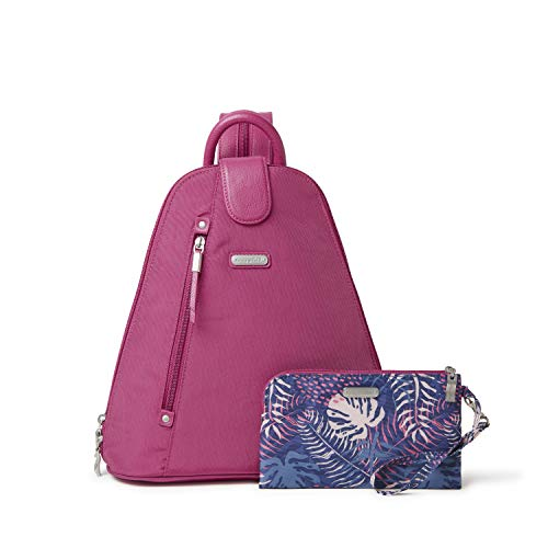 baggallini Women's Metro Backpack with RFID Phone Wristlet, Deep Fuchsia, One Size