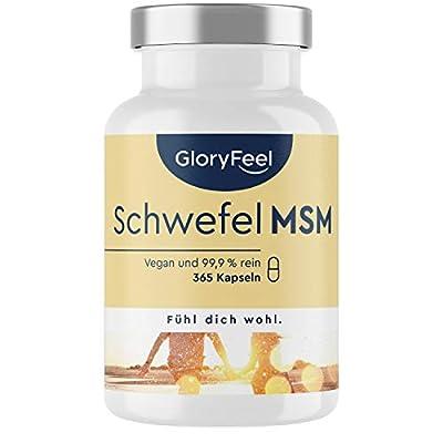 MSM Kapseln - Vergleichssieger 2020* - Laborgeprüft - 365 vegane Kapseln - 1600mg Methylsulfonylmethan (MSM) Pulver pro Tag - Hochdosiert ohne Zusätze in Deutschland hergestellt