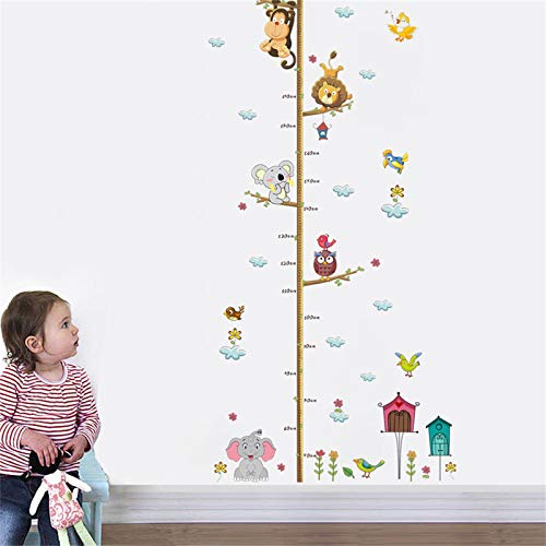 decalmile Animales Gráfica de Altura Pegatinas de Pared Elefante Mono Vinilos Decorativos Salón Guardería Habitación Infantiles Niños Bebés Dormitorio