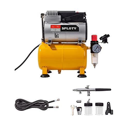 SPLOTY Airbrush Kit, 1/6 HP(105W) Motor Corded Air Brushes for Painting, Durable Oil Free Motor Driven Airbrush Kit with Compressor, 3L Air Tank Airbrush Paint Set for Detailed Painting Artwork & More