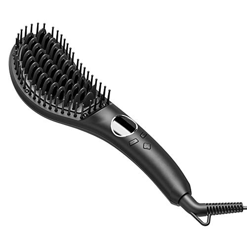 Hair Straightener Brush, Fast Heating Hair Straightening Iron Anti-Scald & Auto-Off Safe & Easy to Use, Portable Hair Straightener Comb for Home Use and Travel (Black)