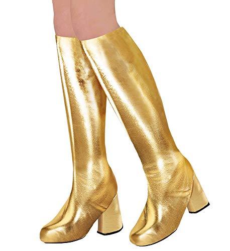 shoperama 70er Metallic Damen Stiefel Überzieher Stulpen glänzend Disco Festival Show Revue Space-Girl Kostüm-Zubehör, Farbe:Gold