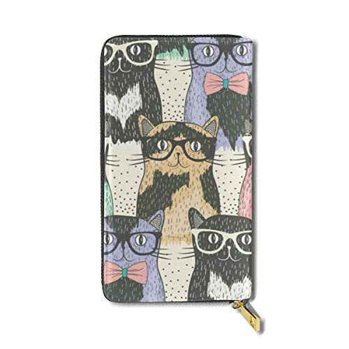Colorful Glasses Cat Large Capacity Zip Around Slim Billfold PU Leather Wallet Card Holders for Men Women Boy Girl