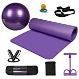 KEAFOLS Yoga Mat Non-Slip Extral Thick Exercise Ball 65cm Yoga Ball, Skipping Rope Adjustable Jumping Rope, Pedal Resistance Band Exercise Kit, Yoga Exercise Set 0f 8 for Office & Home & Gym