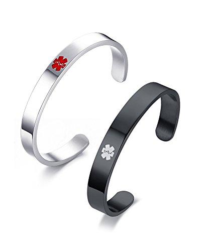 VNOX 2 pezzi Medical Alert Bangle Personalizzato in acciaio inossidabile Medical Bracciale con polsino per uomo Incisione su misura per donna,nero argento