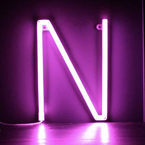 Smiling Faces UK Neon LED Pink Buchstaben Licht Zeichen - Wandbehang batteriebetrieben - Brief N