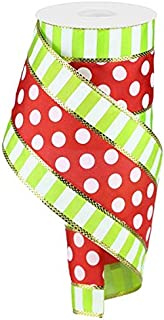 Polka Dots with Stripes Wired Edge Ribbon - 10 Yards (Red, White, Lime, Gold, 4 Inches)