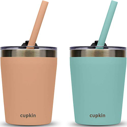 Stackable Stainless Steel Cups for Toddlers & Kids (EASY to Clean) - Set of 2 Powder Coated 8 oz Vacuum Insulated Tumblers, 2 Non BPA Lids and 2 Food Grade Reusable Silicone Straws (Peach + Green)