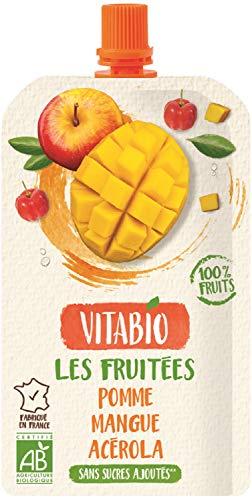ヴィタビオ 有機スーパーフルーツ アップル・マンゴー・アセロラ 120g×5本【砂糖不使用】【有機フルーツスムージー】