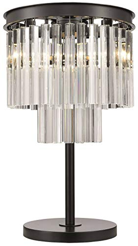 Spring Lighting - Lámpara de mesa 3 luces Cromo Negro, Cristal, E14