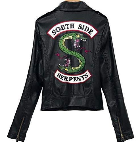 ZYLL Mädchen Riverdale Southside Schlerner Biker Gang Leder Womens Faux Lederjacke Kostümjacke,A,XS
