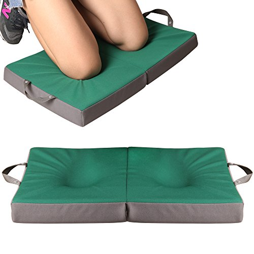 KI Store Garden Kneeling Pad Extra Thick for Gardening Work Bath Water Resistant Removable Neoprene Cover Large Portable Memory Foam Cushion Slow Recovery with Shock Absorbing EVA Foam Green