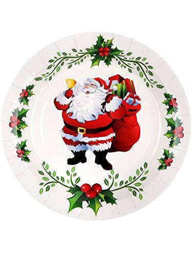 Generique - 10 Assiettes en Carton Joyeux Noël 22.5 cm