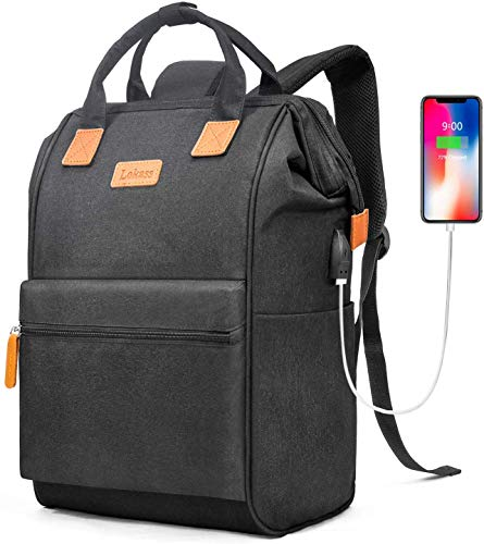 BRINCH Laptop Backpack 15.6 Inch Wide Open Computer Backpack Laptop Bag College Rucksack Water Resistant Business Travel Backpack Multipurpose Casual Daypack with USB Charging Port for Women Men,Black