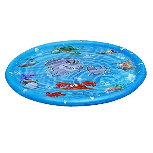 lujiaoshout Mat Inflable de rociadores de pulverización de Agua para niños Mat 100cm Suministros Redonda del Verano al Aire Libre Splash Juego de la Yarda