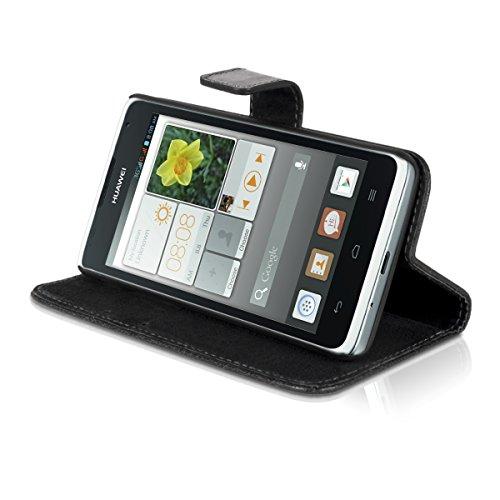 Carlsson Leder Case Hülle für Huawei Ascend Y530 - Wallet Flip Tasche aus Leder mit Standfunktion in Schwarz - 4