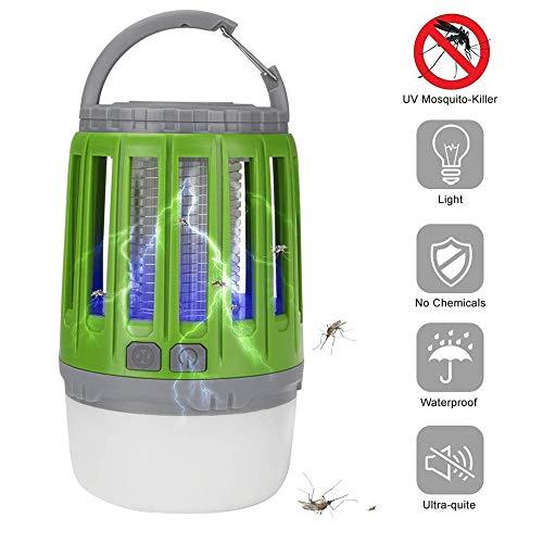 Bosunny UV Insektenvernichter, USB elektrisch Mückenfalle, 2 in 1 Camping Lantern IPX4 wasserdicht tragbar Mückenvernichter Zeltlampe USB Wiederaufladbar für Innen und Außen(Grün)