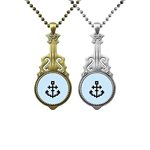 Sommer Segelschiffe Schiff Pixel Liebhaber Musik Gitarre Anhänger Schmuck Halskette Anhänger