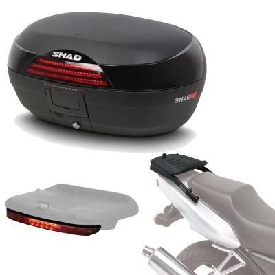Sh46luhe145 - Kit fijacion y Maleta baul Trasero + luz de Freno Regalo sh46 Compatible con Honda CBR 600f 2001-2008