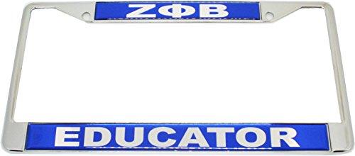 Cultural Exchange Zeta Phi Beta Educator Domed License Plate Frame [Silver - Car/Truck]
