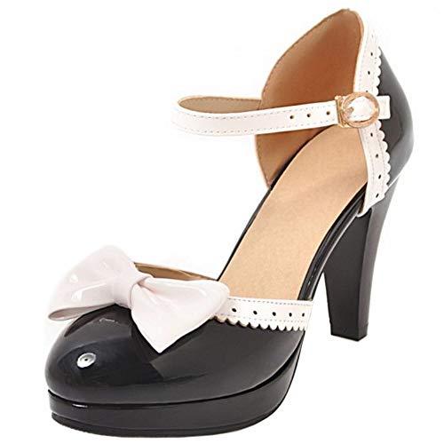 BeiaMina Damen Sweet Trichterabsatz Sandalen Almond Toe T Spange D Orsay Pumps Hohe Ferse Schuhe Synthetisch Lack Black Gr 47 Asian
