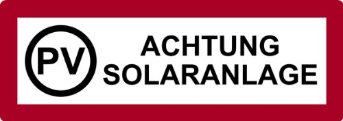 LEMAX® Aufkleber PV Achtung Solaranlage 74x210mm