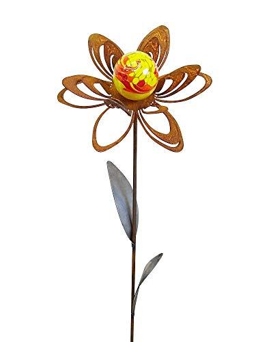 Bornhöft Gartenstecker Metall Rost Gartendeko rostige Dekoration Edelrost mit Glaskugeln (Blume Jana)