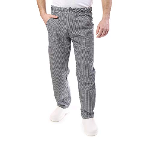 tessile astorino pantalón de Chef, para restaurantes y para la Cocina, Uniforme de Trabajo, Pantalones de Cocinero, para Hombre y Mujer, pie de gallina, Made in Italy (XS)