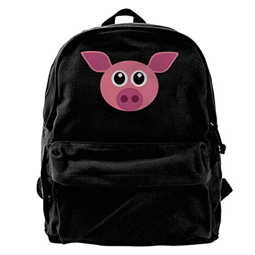 Yuanmeiju School Travel Backpack, Classic Canvas Backpack Pink Pig Head Unique Print Style,Fits 14 Inch Laptop,Durable,Black