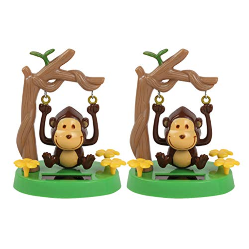 Amosfun 2Pcs Solar Powered Dancing Toy Swinging Monkey Bobbleheads Shaking Car Dashboard Ornament for car Interior Decorations Ornament Gift