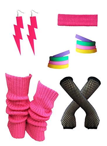Women's 80s Neon Fancy Costume Outfit Accessories Set,Leg Warmers,Gloves,Earrings S1