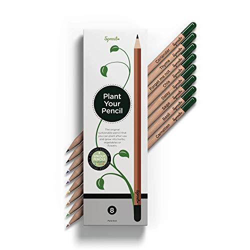 Sprout Bleistifte – Special Edition | 6 Bunt- und 2 Graphitstifte zum Einpflanzen | aus unbehandeltem Bio Naturholz und mit bleifreien Minen | Perfekt zum Ausmalen | 8er Pack