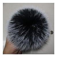 MIYU 13〜15センチメートルふわふわポンポン付きボタン毛皮ポンポンPOMS玉自然毛皮ポンポンのためにスカーフ帽子バッグ (Color : Black white tips)