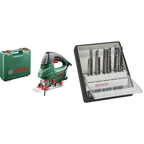 Bosch PST 900 PEL - Sierra de calar (620 W, en maletín) + Bosch 2 607 010 540 - Juego de 10 hojas de sierra de calar Robust Line Wood Expert, vástago en T