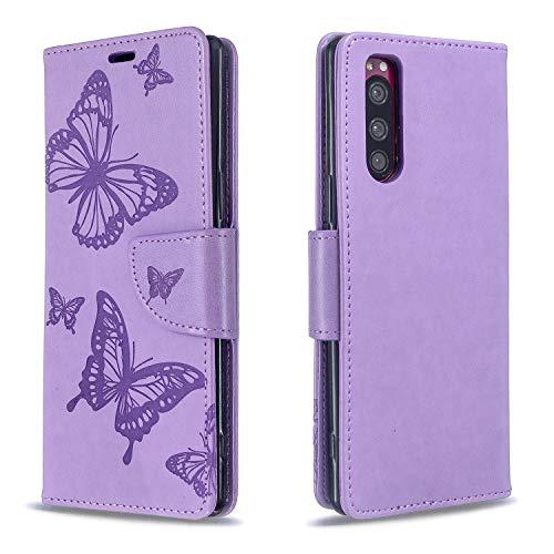 Hülle für Sony Xperia 5 Lederhülle Flip Tasche Klappbar Handyhülle mit [Kartenfächer] [Ständer Funktion], Cover Schutzhülle für Sony Xperia 5 - JEBF080731 Violett