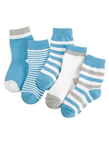 Camilife Camilife 5 Paar Baby Kleinkind Jungen Mädchen Baumwolle Socken Set Babysocken Weich Süß und Lieblich - Gestreift Himmelblau 4-6 Jahre alt