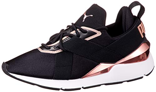 PUMA Damen Muse X3 METALLIC WN S Sneaker, Schwarz Weiß Rose Gold, 38 EU