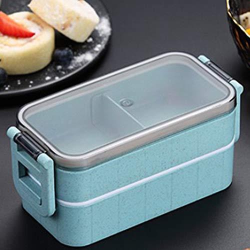 Tiyila 1 Schicht / 2 Schicht Gesundes Material Lunchbox Weizenstroh Bento Boxen Mikrowelle Geschirr Frischhaltedose(6BL)