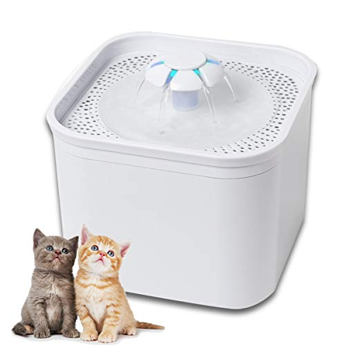 Pet Fountain, 2.0L Automatic cat Drinking Fountain with Double Filters and LED Lighting Pump, Healthy Hygienic Water Fountain for Cats, Dogs and Multiple Pets, 3 Replacement Filters Included